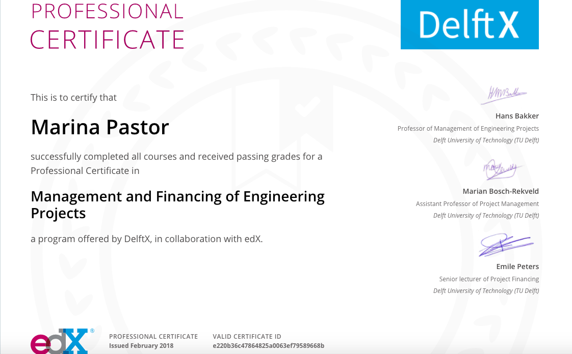 Professional Certificate Management And Financing Of Engineering