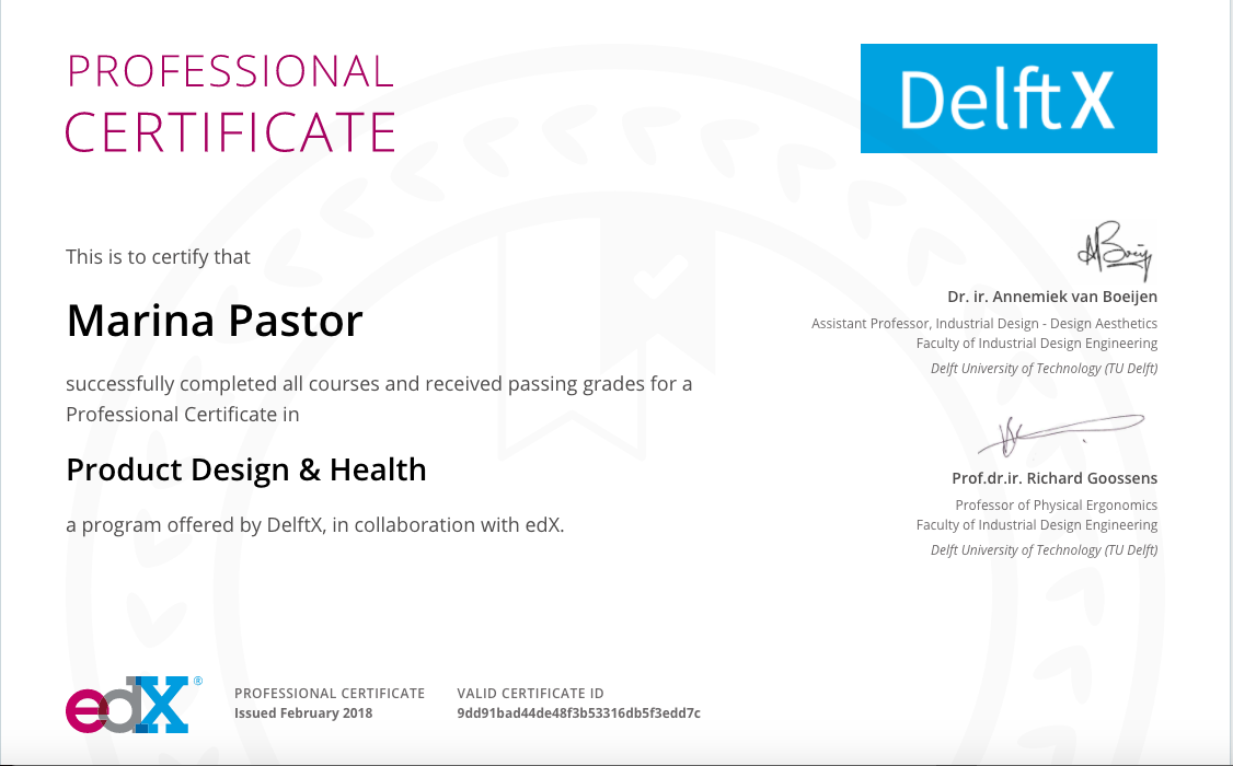 Professional Certificate Product Design Health